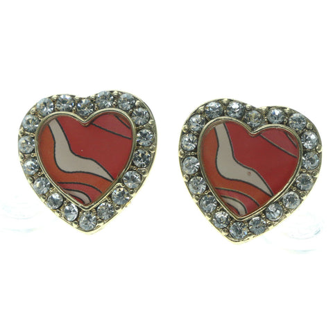 Heart Stud-Earrings With Crystal Accents Pink & Gold-Tone Colored #657