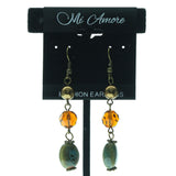Gold-Tone & Multi Colored Metal Dangle-Earrings With Bead Accents #658