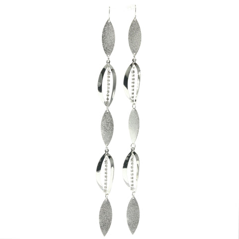 Silver-Tone Metal Drop-Dangle-Earrings With Rhinstone Accents #660