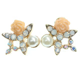 Rose Stud-Earrings With Crystal Accents Gold-Tone & Peach Colored #669