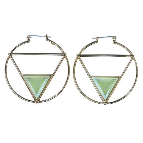 Gold-Tone & Green Colored Metal Hoop-Earrings With Bead Accents #673