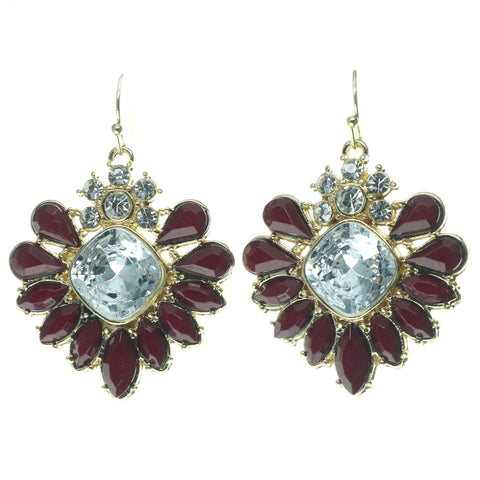 Red & Gold-Tone Colored Metal Dangle-Earrings With Crystal Accents #677