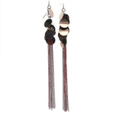 Bronze-Tone & Red Colored Metal Drop-Dangle-Earrings With Tassel Accents #678