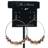 Gold-Tone & Red Colored Metal Dangle-Earrings With Bead Accents #686