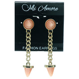 Gold-Tone & Pink Colored Metal Drop-Dangle-Earrings With Bead Accents #687
