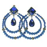 Blue & Black Colored Metal Dangle-Earrings With Crystal Accents #690