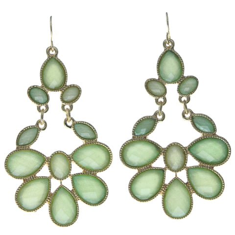 Green & Gold-Tone Colored Metal Dangle-Earrings With Crystal Accents #692