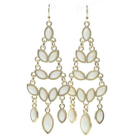 White & Gold-Tone Colored Metal Dangle-Earrings With Faceted Accents #693