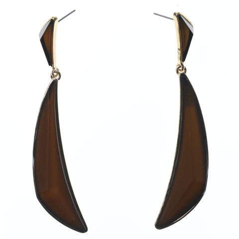 Gold-Tone & Brown Colored Metal Dangle-Earrings With Faceted Accents #700
