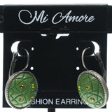 Green & Silver-Tone Colored Metal Dangle-Earrings With Stone Accents #708