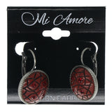 Silver-Tone & Red Colored Metal Dangle-Earrings With Crystal Accents #710