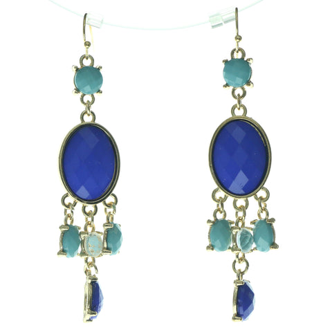 Gold-Tone & Blue Colored Metal Dangle-Earrings With Faceted Accents #713