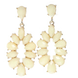 White & Gold-Tone Colored Metal Dangle-Earrings With Faceted Accents #714