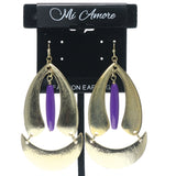 Gold-Tone & Purple Colored Metal Dangle-Earrings With Bead Accents #715