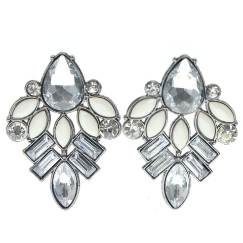 Silver-Tone & White Colored Metal Stud-Earrings With Crystal Accents #719
