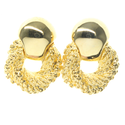 Gold-Tone Metal Stud-Earrings #720