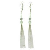 Gold-Tone & White Colored Metal Dangle-Earrings With Bead Accents #727
