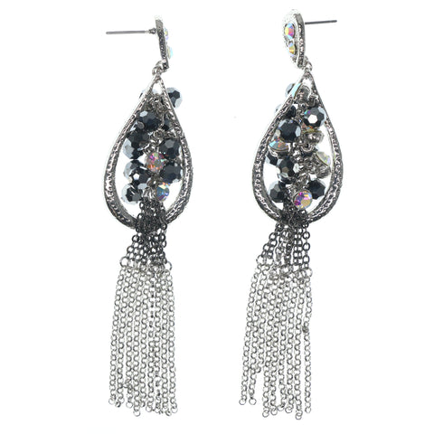 Silver-Tone & Black Colored Metal Dangle-Earrings With Crystal Accents #729