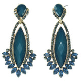 Blue & Gold-Tone Colored Metal Dangle-Earrings With Crystal Accents #732