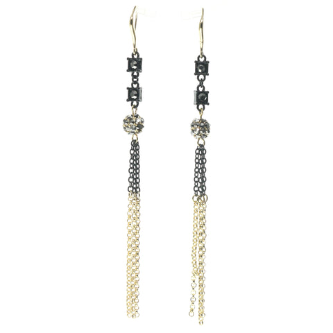 Gold-Tone & Black Colored Metal Drop-Dangle-Earrings With Crystal Accents #734