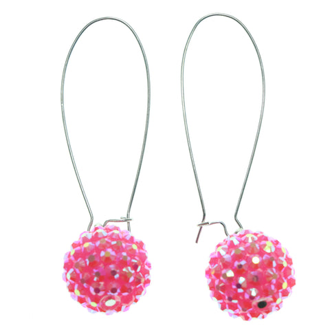 Pink & Silver-Tone Colored Metal Dangle-Earrings With Crystal Accents #736