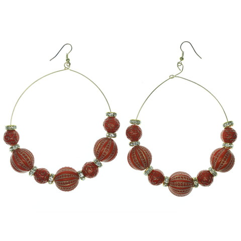 Red & Gold-Tone Colored Metal Dangle-Earrings With Bead Accents #738