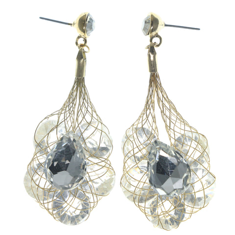 Gold-Tone & Clear Colored Metal Dangle-Earrings With Crystal Accents #740
