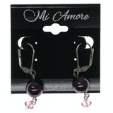 Purple & Silver-Tone Colored Metal Dangle-Earrings With Bead Accents #747
