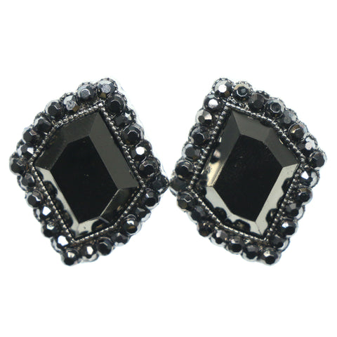 Black & Silver-Tone Colored Metal Stud-Earrings With Crystal Accents #752