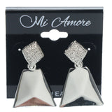 Silver-Tone Metal Dangle-Earrings #754