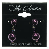 Purple & Silver-Tone Colored Acrylic Dangle-Earrings With Bead Accents #757