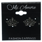Crown Stud-Earrings With Crystal Accents Silver-Tone & Black Colored #760