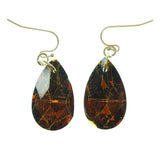 Brown & Gold-Tone Colored Metal Dangle-Earrings With Crystal Accents #763