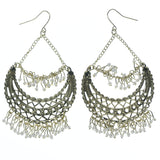 Gold-Tone & White Colored Metal Dangle-Earrings With Bead Accents #766