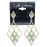 Green & Gold-Tone Colored Metal Dangle-Earrings With Crystal Accents #767