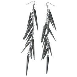 Silver-Tone Metal Dangle-Earrings #769