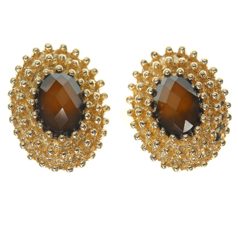 Gold-Tone & Brown Colored Metal Stud-Earrings With Faceted Accents #774
