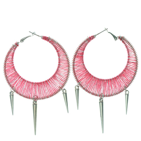 Spike Hoop-Earrings With Bead Accents Pink & Silver-Tone Colored #776