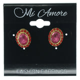 Pink & Gold-Tone Colored Metal Stud-Earrings With Crystal Accents #778