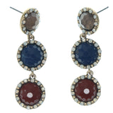 Gold-Tone & Multi Colored Metal Dangle-Earrings With Faceted Accents #781