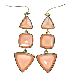 Peach & Gold-Tone Colored Metal Dangle-Earrings With Faceted Accents #783