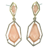 Gold-Tone & Peach Colored Metal Dangle-Earrings With Faceted Accents #784