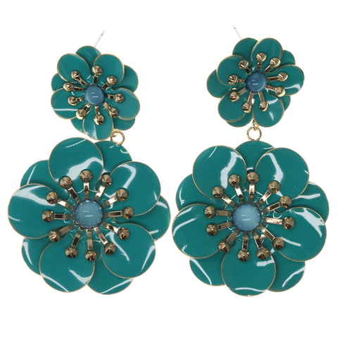 Flower Dangle-Earrings With Bead Accents Blue & Gold-Tone Colored #787