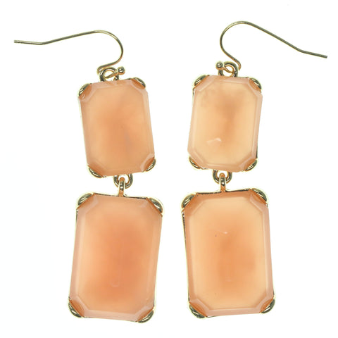 Peach & Gold-Tone Colored Metal Dangle-Earrings With Crystal Accents #790