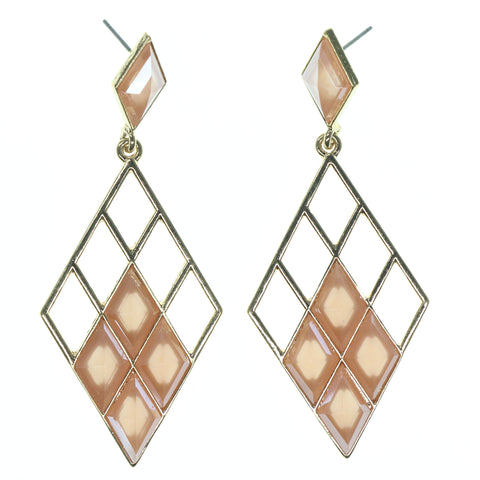 Peach & Gold-Tone Colored Metal Dangle-Earrings With Crystal Accents #791