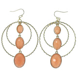 Gold-Tone & Peach Colored Metal Dangle-Earrings With Faceted Accents #792