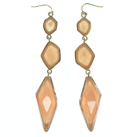 Peach & Gold-Tone Colored Metal Dangle-Earrings With Faceted Accents #793