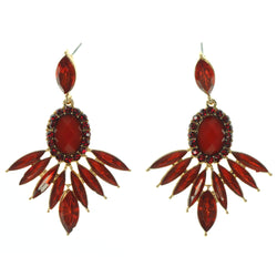 Red & Gold-Tone Colored Metal Dangle-Earrings With Crystal Accents #795