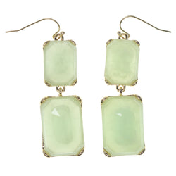 Green & Gold-Tone Colored Metal Dangle-Earrings With Crystal Accents #798