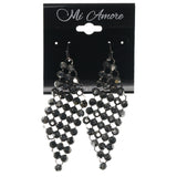 Silver-Tone & Black Colored Metal Dangle-Earrings With Crystal Accents #802